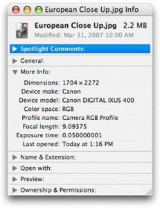 EXIF data in Mac OS X